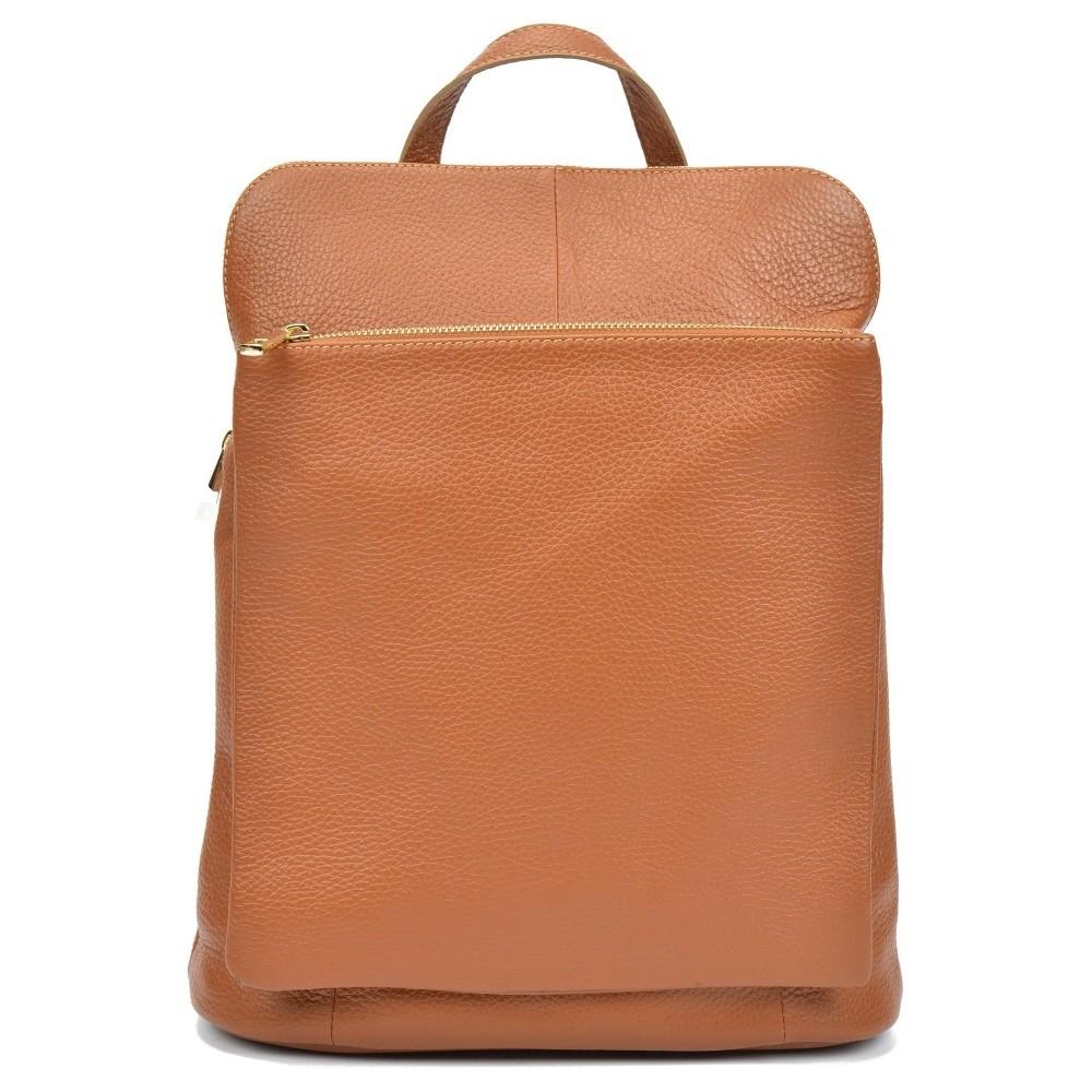 Koňakovohnedý kožený batoh Isabella Rhea Carrie