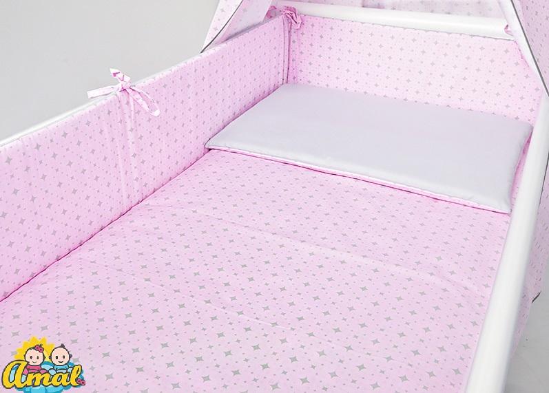 AMAL 5-dielna súprava do postieľky DUO, ružové kosoštvorce/sivá hladká, 120x90cm