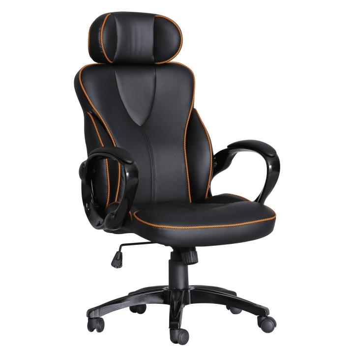 Kancelárska stolička, ekokoža čierna/oranžový lem, SEDRIK