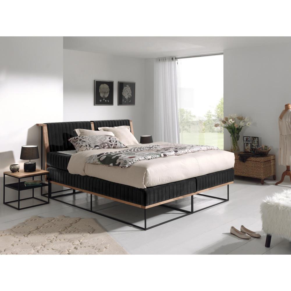 Čierna dvojlôžková boxspring posteľ Sinkro Berlin Calling, 180 x 200 cm