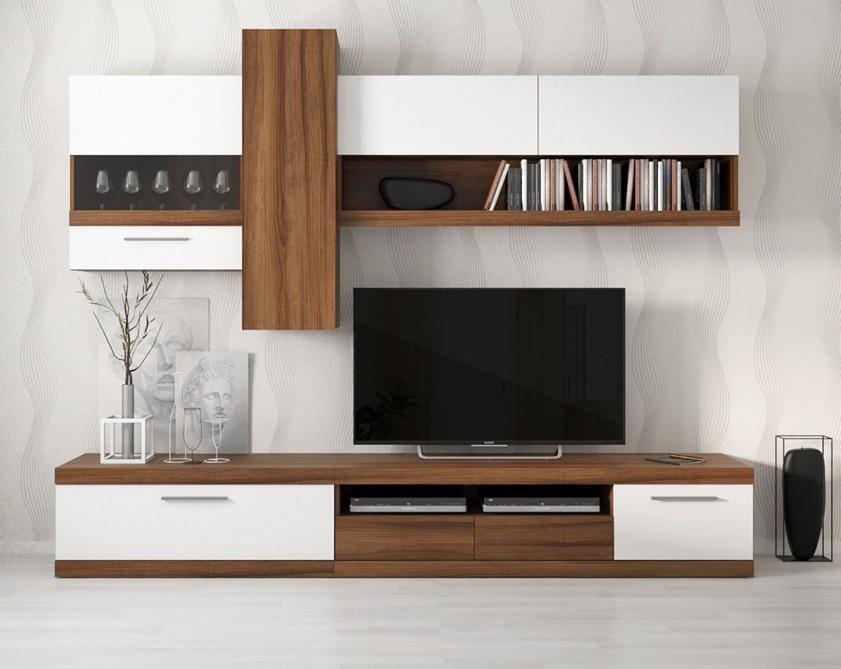 Moderná obývacia stena ITALIA, orech/biely lesk
