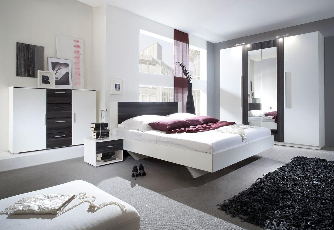 ERA - Ložnicová zostava - skriňa (20), posteľ 160+2x nočný stolík(51), komoda (26), biela/čierny orech