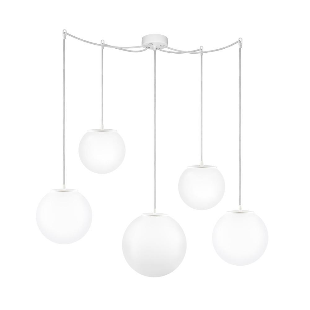 Biele päťramenné závesné svietidlo Sotto Luce Tsuki Medium