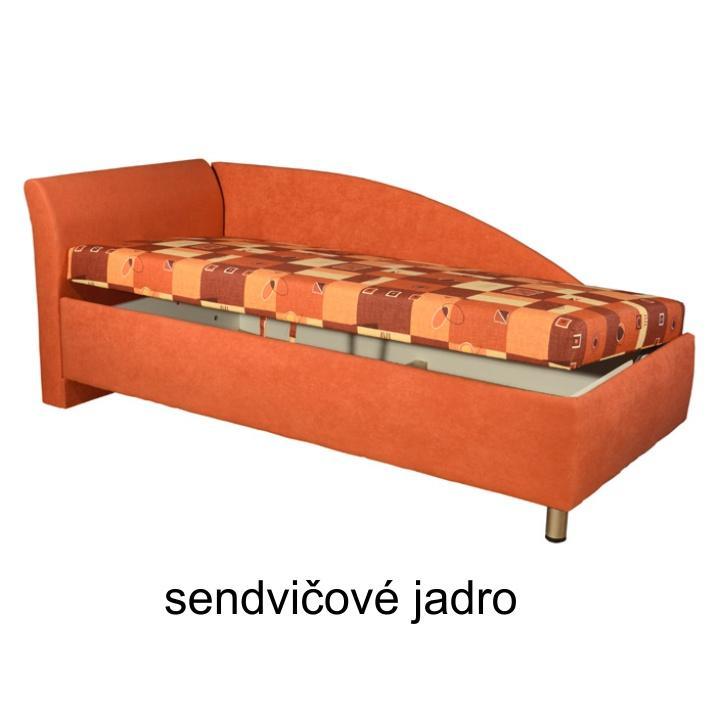 TEMPO KONDELA Váľanda s úložným priestorom, ľavá, sendvičová, 90x200 cm, PERLANA