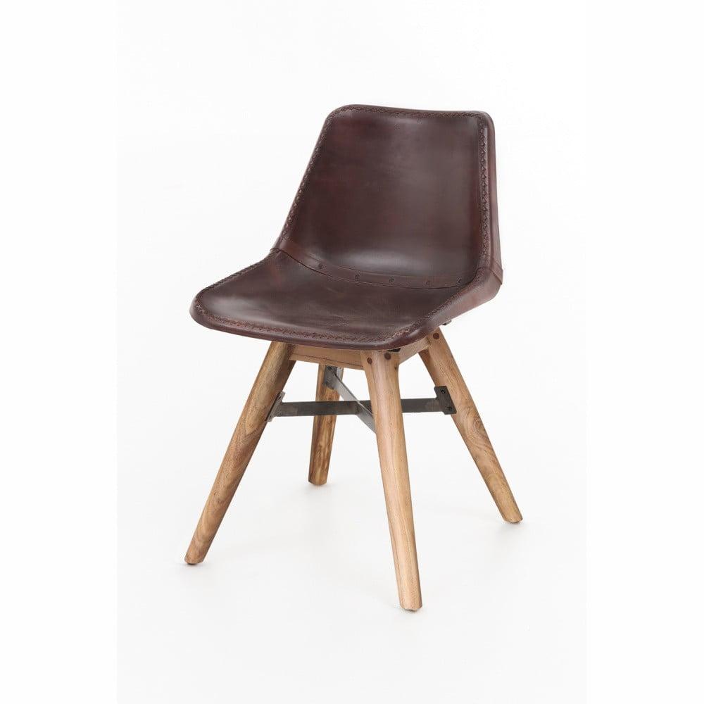 Jedálenska stolička z akáciového dreva a kože WOOX LIVING Finn