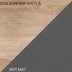 Šatníková skriňa STELLA 05   Farba: Dub sonoma svetlá / sivý mat