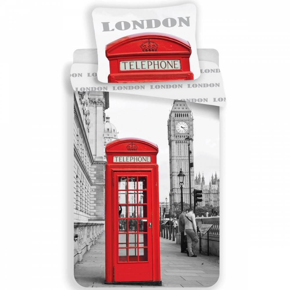 Jerry Fabrics Obliečky London Telephone, 140 x 200 cm, 70 x 90 cm