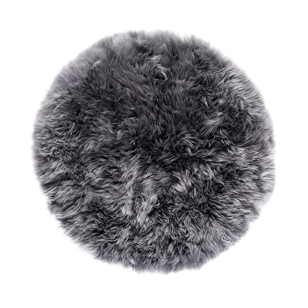 Sivý okrúhly koberec z ovčej vlny Royal Dream Zealand