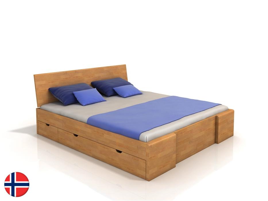 Manželská posteľ 160 cm Naturlig Blomst High Drawers (buk) (s roštom)