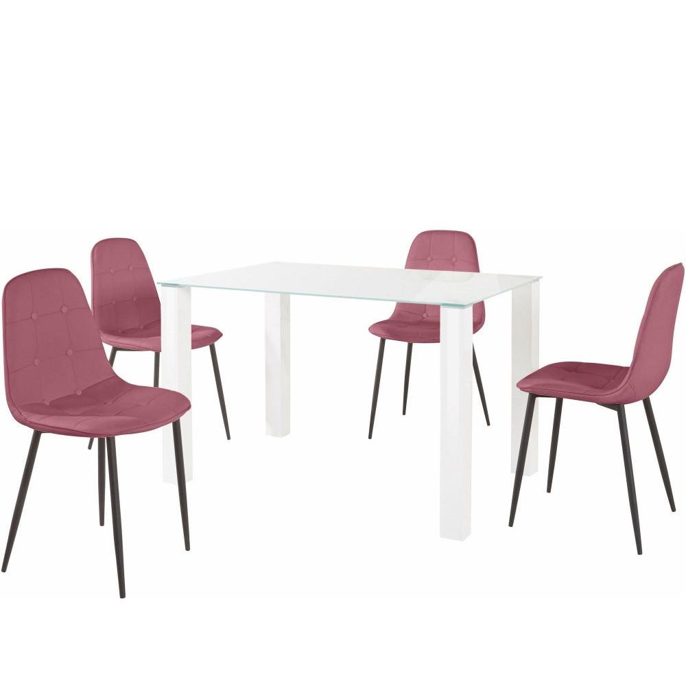 Sada jedálenského stola a 4 ružových stoličiek Støraa Dante, dĺžka stola 120 cm