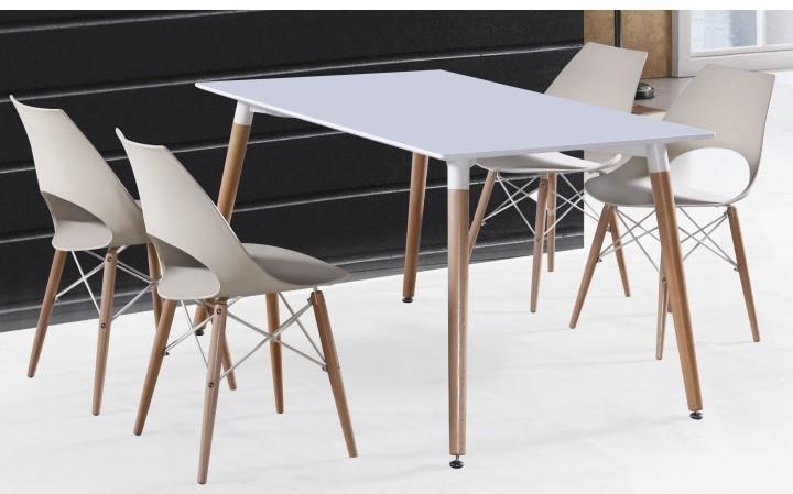 Jedálenský stôl, biela+buk, DIDIER NEW