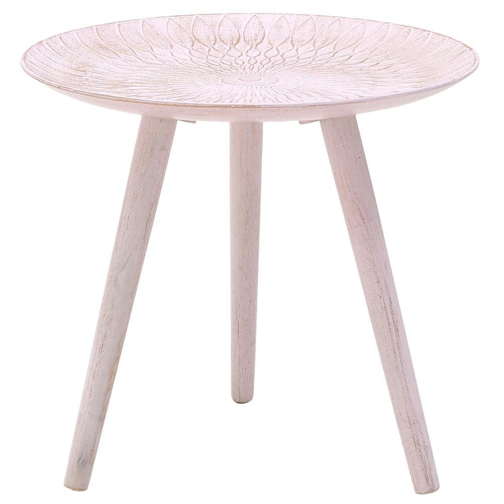 Ružový odkladací stolík z brezového dreva InArt Antique, ⌀ 44 cm