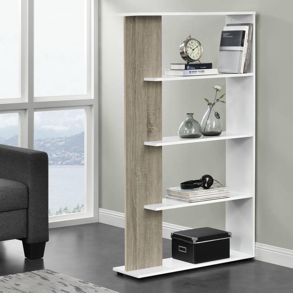 [pro.tec]® Knižnica - imitácia dreva / biela - 141 x 80 x 23,5 cm