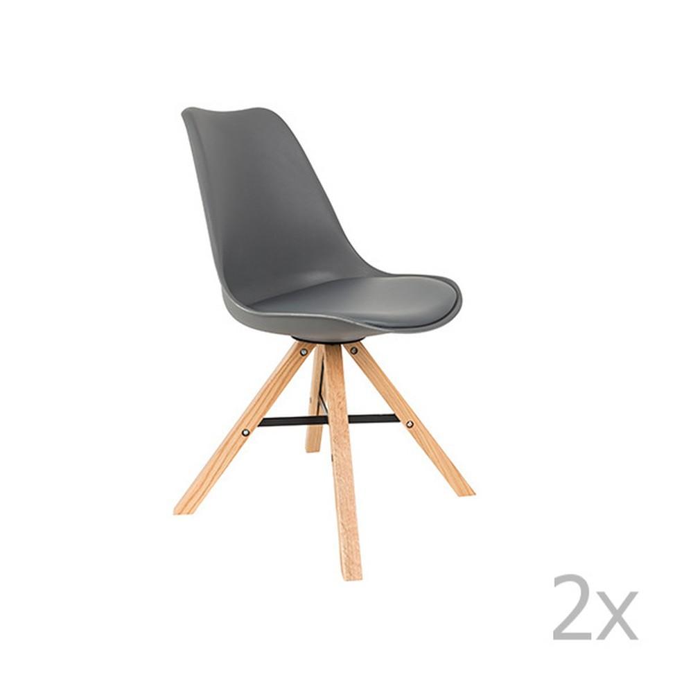 Sada 2 sivých stoličiek White Label Kell