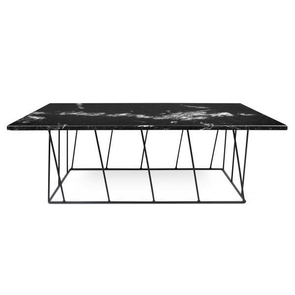 Čierny mramorový konferenčný stolík s čiernymi nohami TemaHome Helix, 120cm
