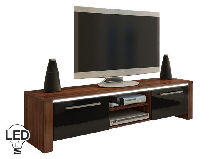 TV stolík/skrinka Helix (slivka + lesk čierny)