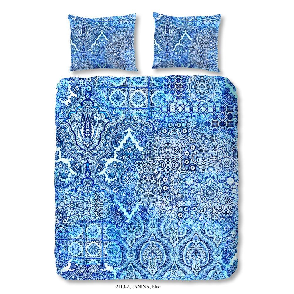 Modré obliečky na dvojlôžko z bavlneného saténu Muller Textiels Laguna, 200×200 cm