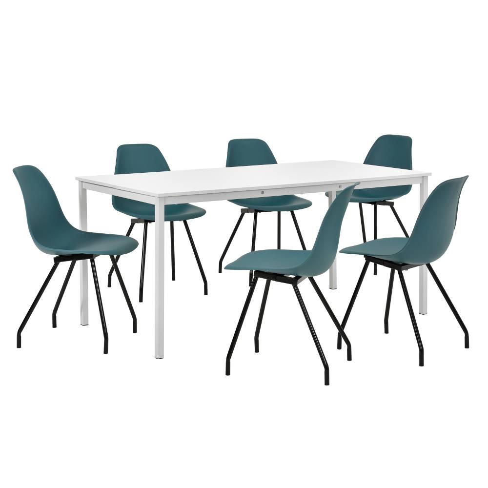 [en.casa]® Štýlová dizajnová jedálenská zostava - biely stôl - so 6 elegantnými stoličkami - tyrkysovými