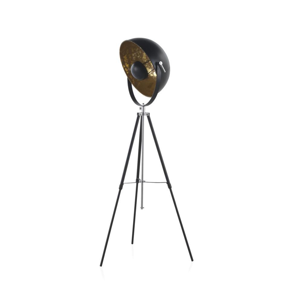 Čierna stojacia lampa na trojnožke Geese, výška 1,6 m