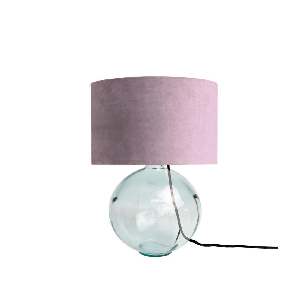 Fialová lampa z ručne fúkaného skla so zamatovým tienidlom Velvet Atelier