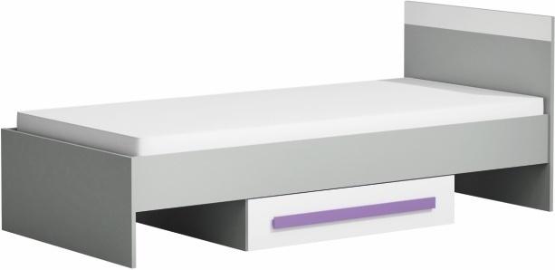 Posteľ 90x200 s úložným priestorom, sivá/biela/fialová, PIERE P12