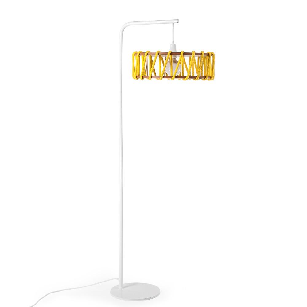 Stojacia lampa s bielou konštrukciou a veľkým žltým tienidlom EMKO Macaron
