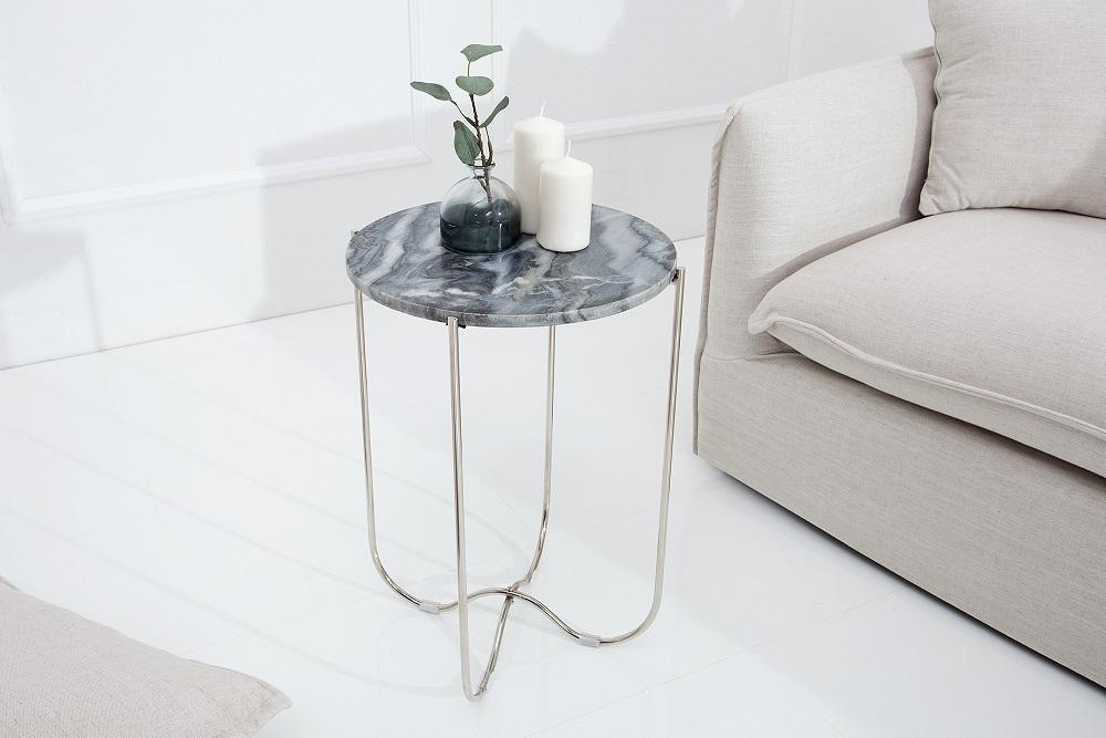 Bighome - Príručný stolík NOBL - šedá, strieborná