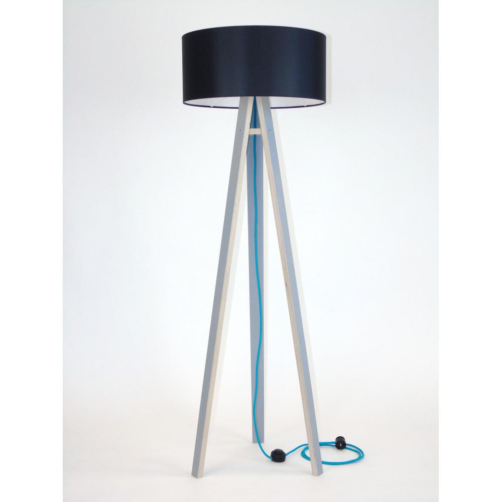 Sivá stojacia lampa s čiernym tienidlom a tyrysovým káblom Ragaba Wanda