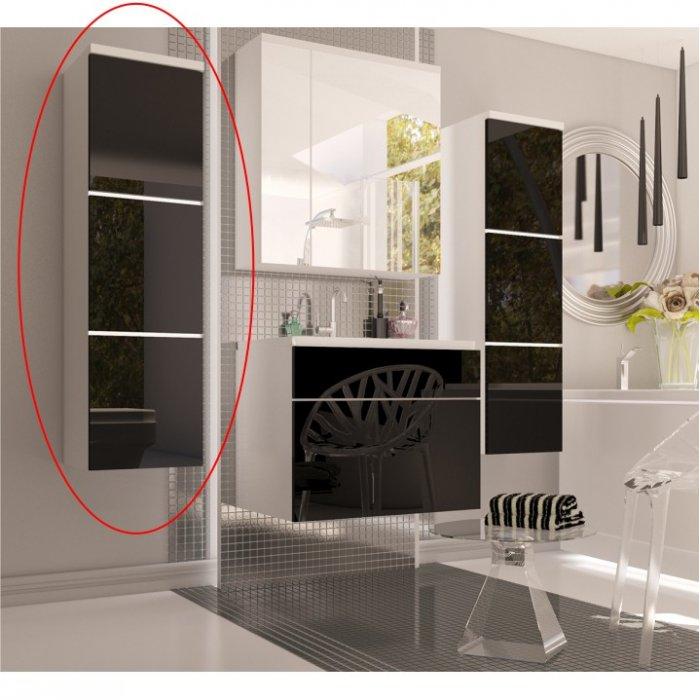 TEMPO KONDELA MASON BL 11 vysoká skrinka - biela / čierny vysoký lesk