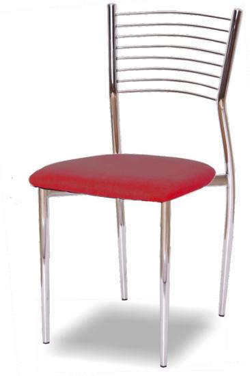 Stolička, ekokoža červená/chróm, ZAIRA