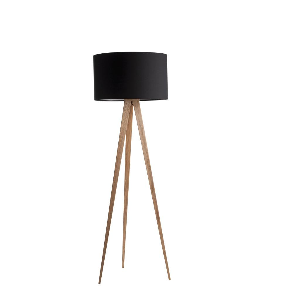 Čierna stojacia lampa Zuiver Tripod Wood