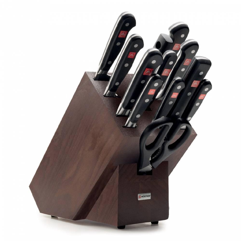 Sada nožů s hnědým blokem, ocílkou a nůžkami 13dílná Classic
