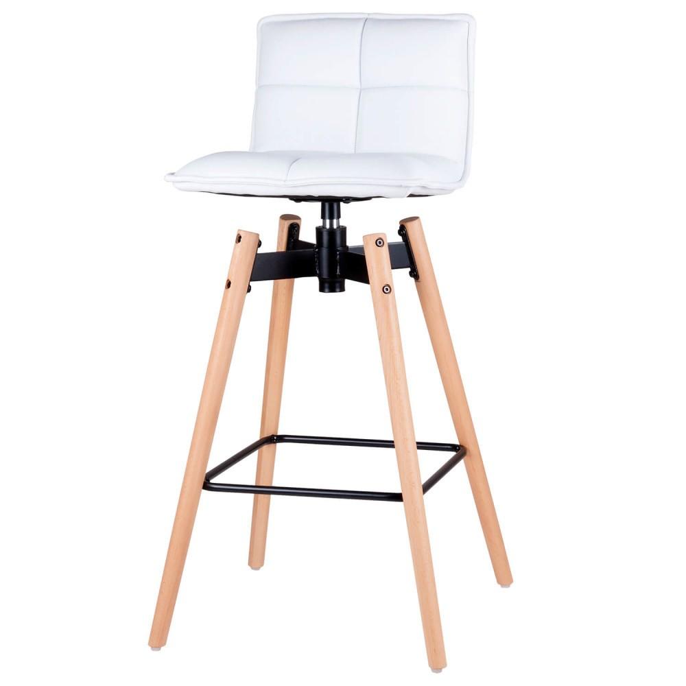 Biela barová stolička s nohami z bukového dreva sømcasa Janie