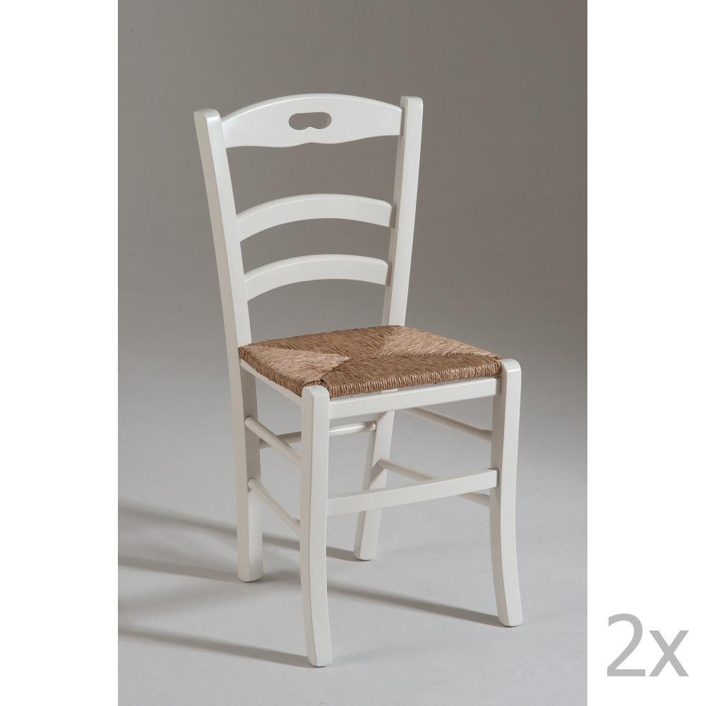 Sada 2 bielych drevených stoličiek Castagnetti Venice