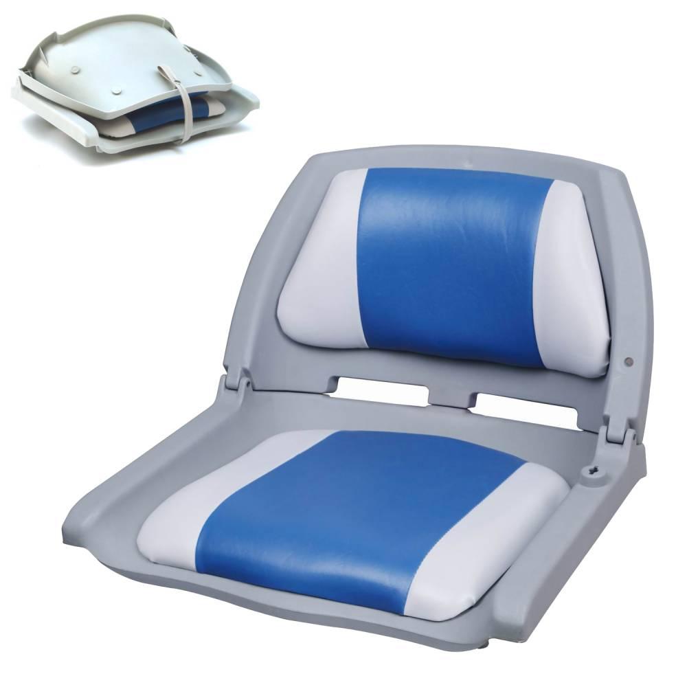 [pro.tec]® Kapitánske sedadlo - pre lode / člny / jachty, 521 x 457 x 408 mm, modrá - biela
