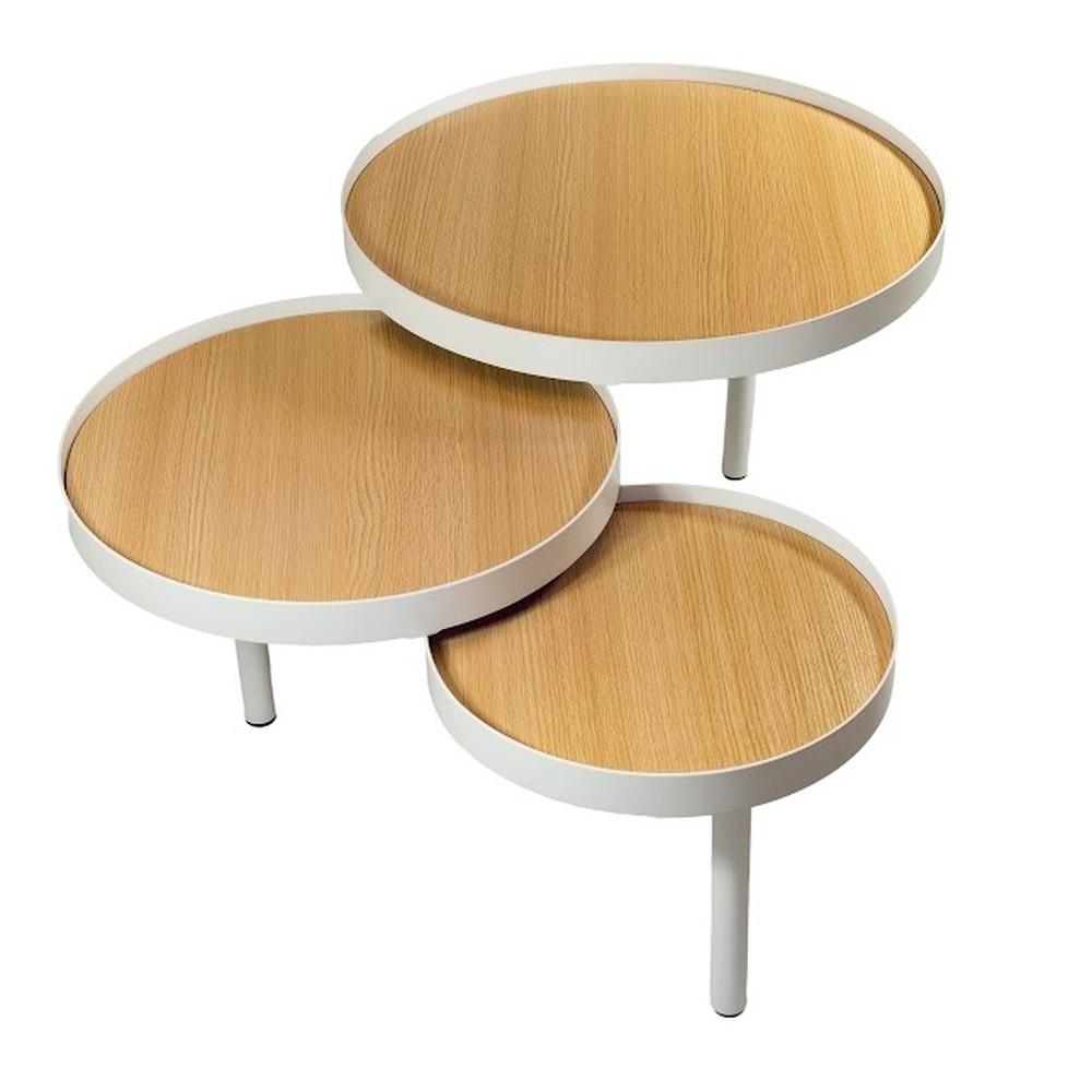 Trojitý odkladací stolík Fisura Triplex Natural
