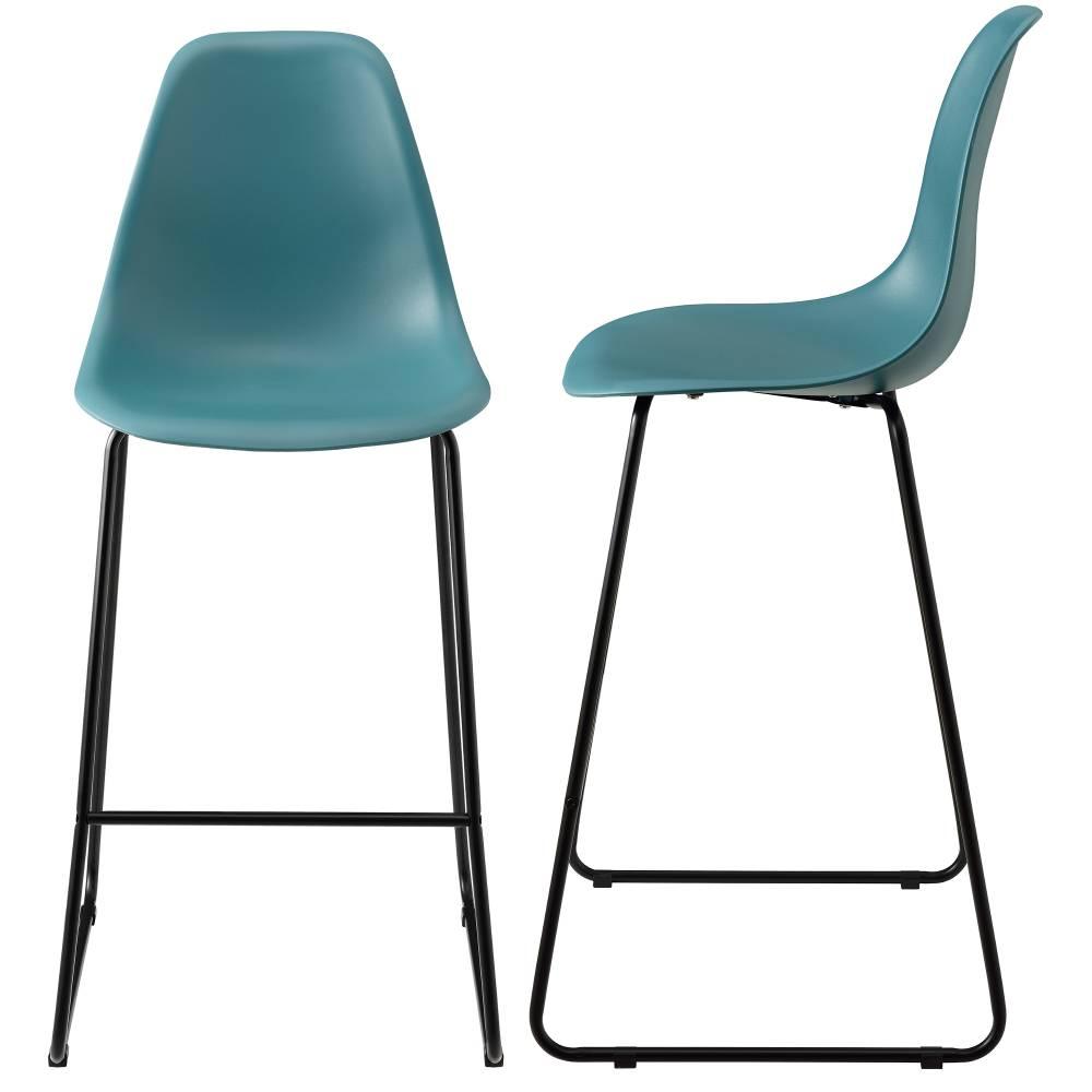 [en.casa]® Dizajnové barové stoličky (2 kusová sada) - tyrkysové
