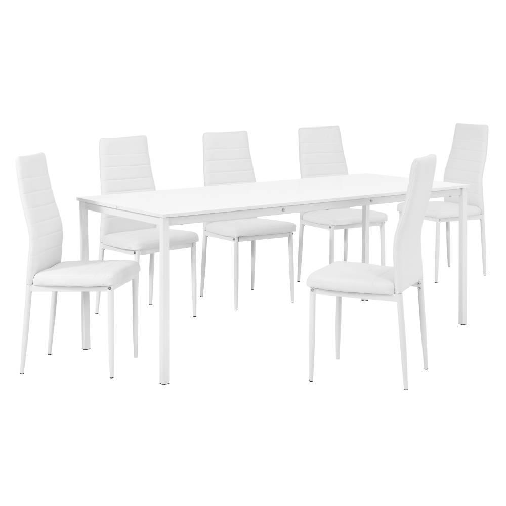 [en.casa]® Štýlový dizajnový jedálenský stôl (180 x 80 cm) - so 6 elegantnými stoličkami (biele)