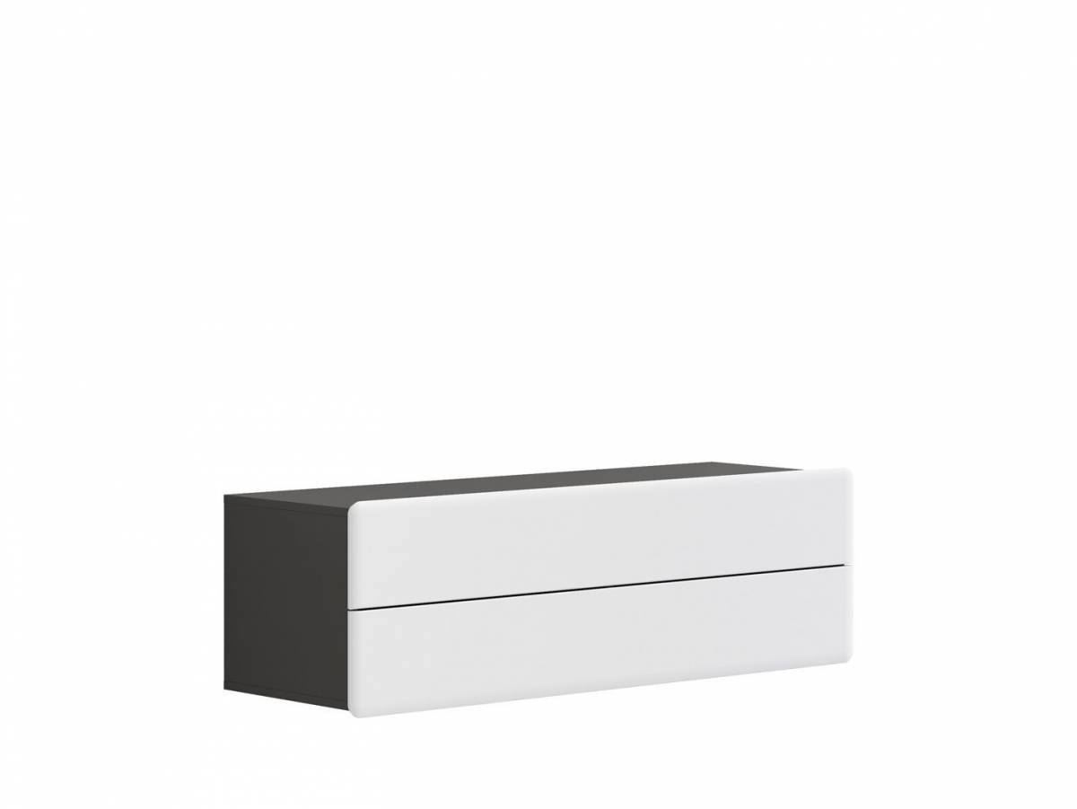 TV stolík/skrinka Possi Light RTV2S 4/13 (sivý wolfram + lesk biely)