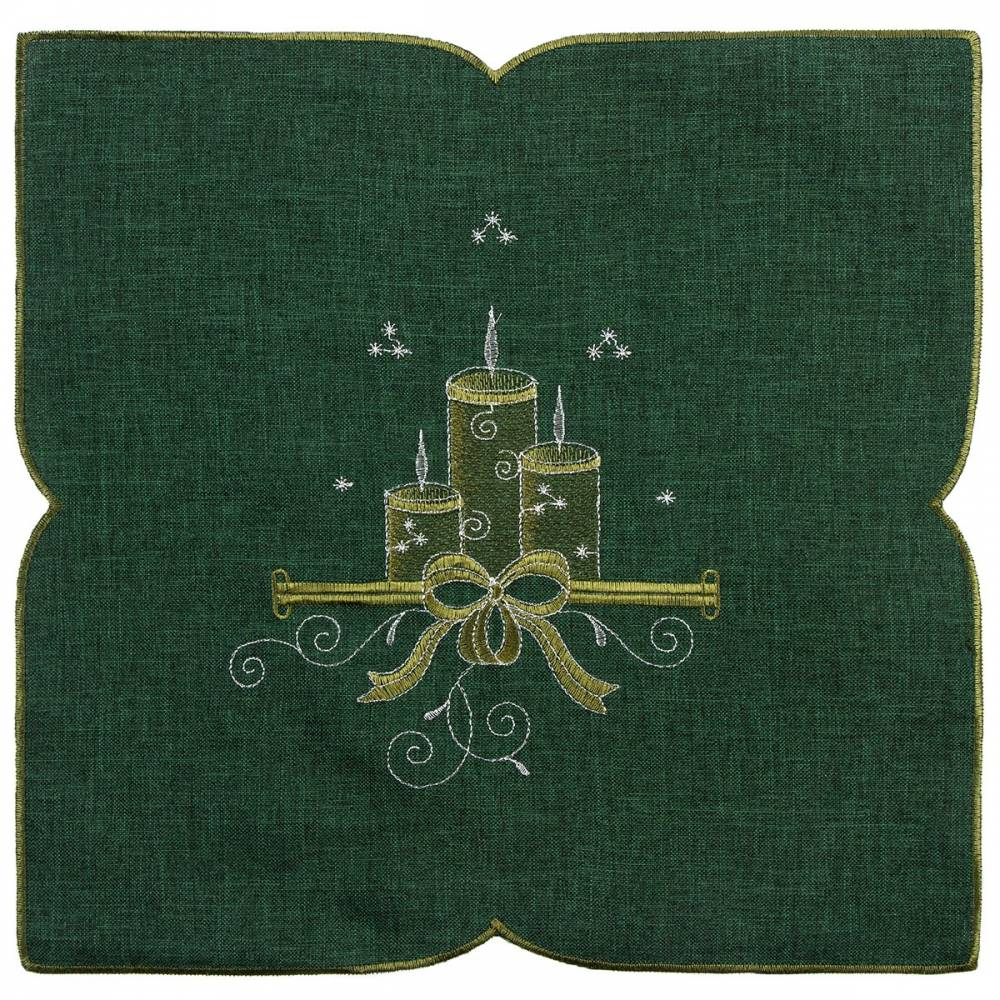 Forbyt Vianočný obrus Sviečky zelená, 35 x 35 cm