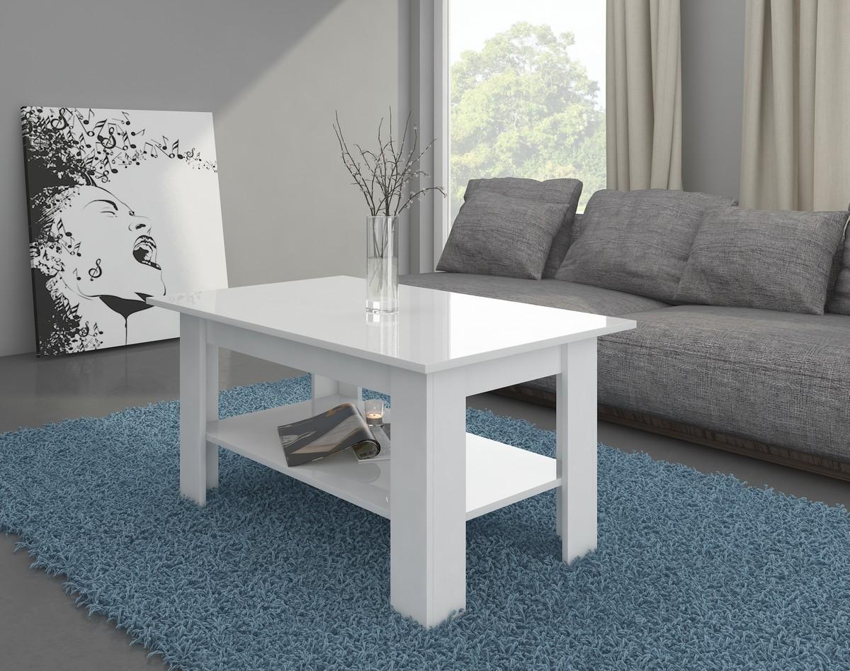 Konferenčný stolík Elaiza (biela + lesk biely)