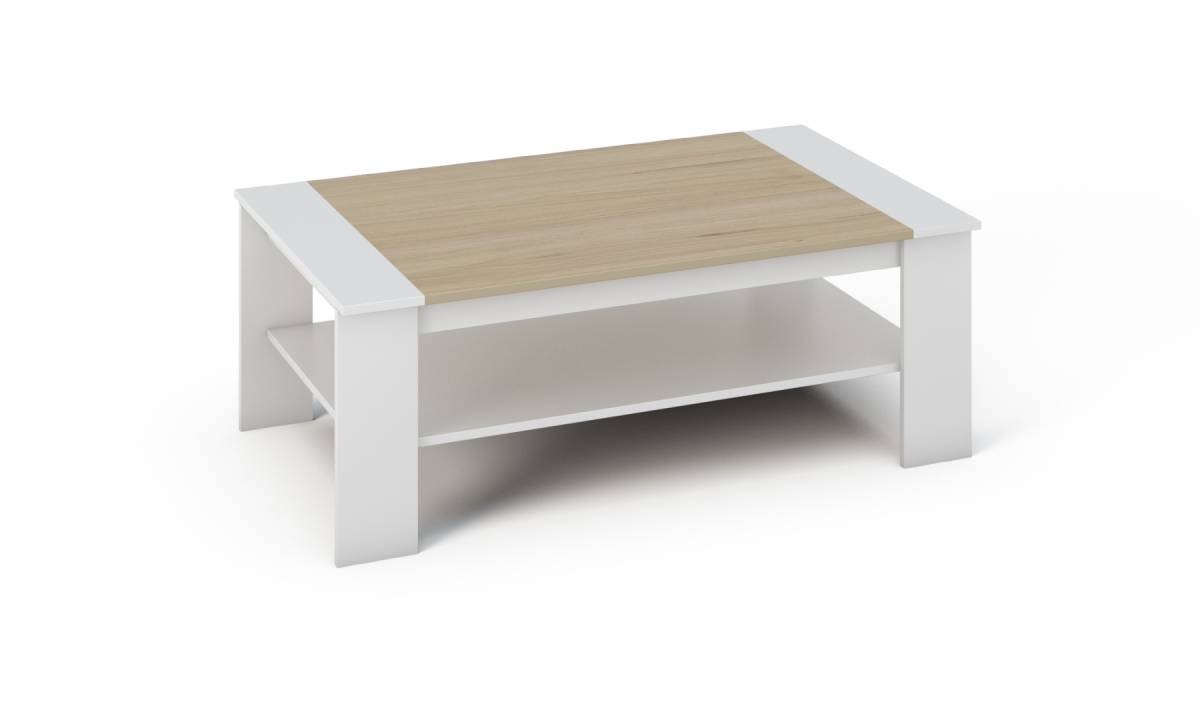 >> BARNY konferenčný stolík biely/dub sonoma