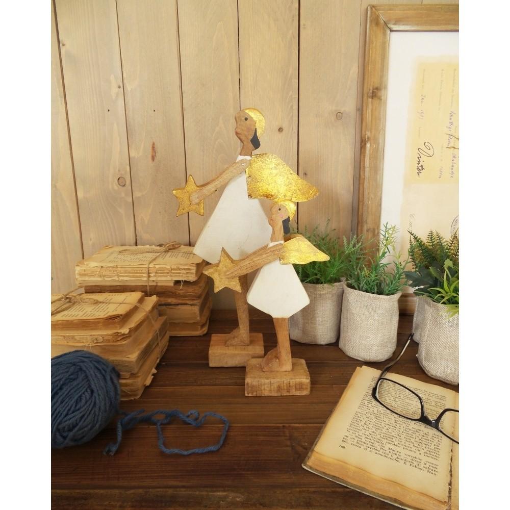 Sada 2 dekoratívnych drevených anjelov Orchidea Milano Angels