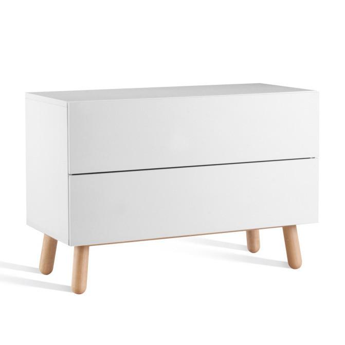 Nízka biela komoda s 2 zásuvkami Jitona Mamma, 120 cm