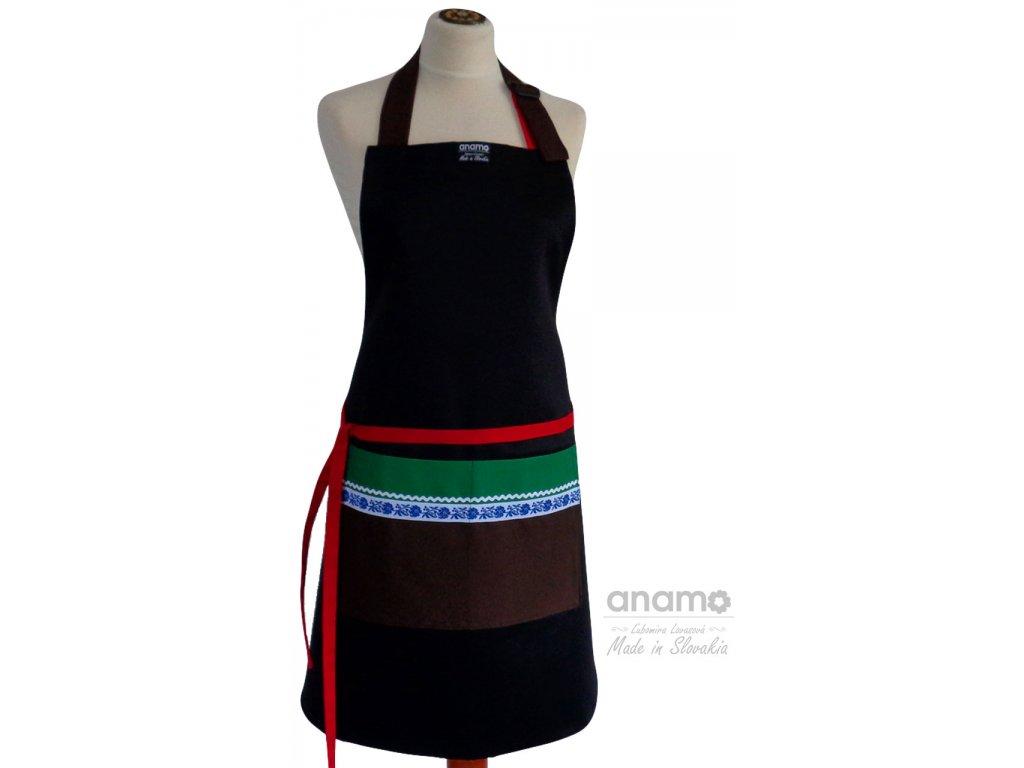 Zástera Anamo ľudová čierna s hnedým vreckom