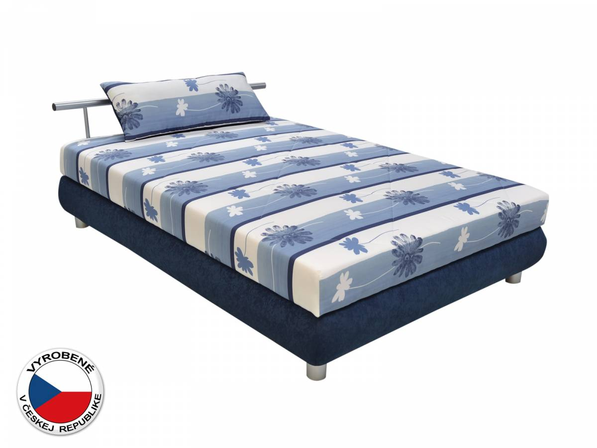 Manželská posteľ 140 cm Blanár Adriana (vzor Taurus 468-90 + modrá) (s roštom a matracom)