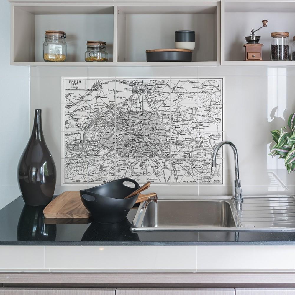 Sada 24 nástenných samolepiek Ambiance Stickers Tiles Paris Map, 10 × 10 cm