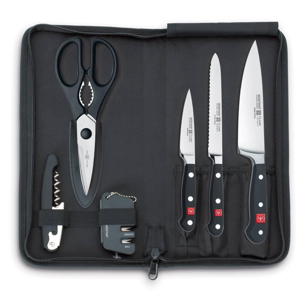 Cestovná súprava nožov s brúskou, nožnicami a otváračom v puzdre 7-dielna Classic