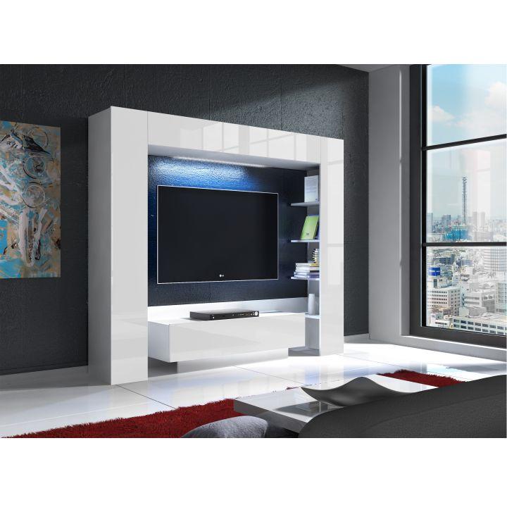 Luxusná TV a media stena, biela/biely extra vysoký lesk s LED osvetlením, MONTEREJ