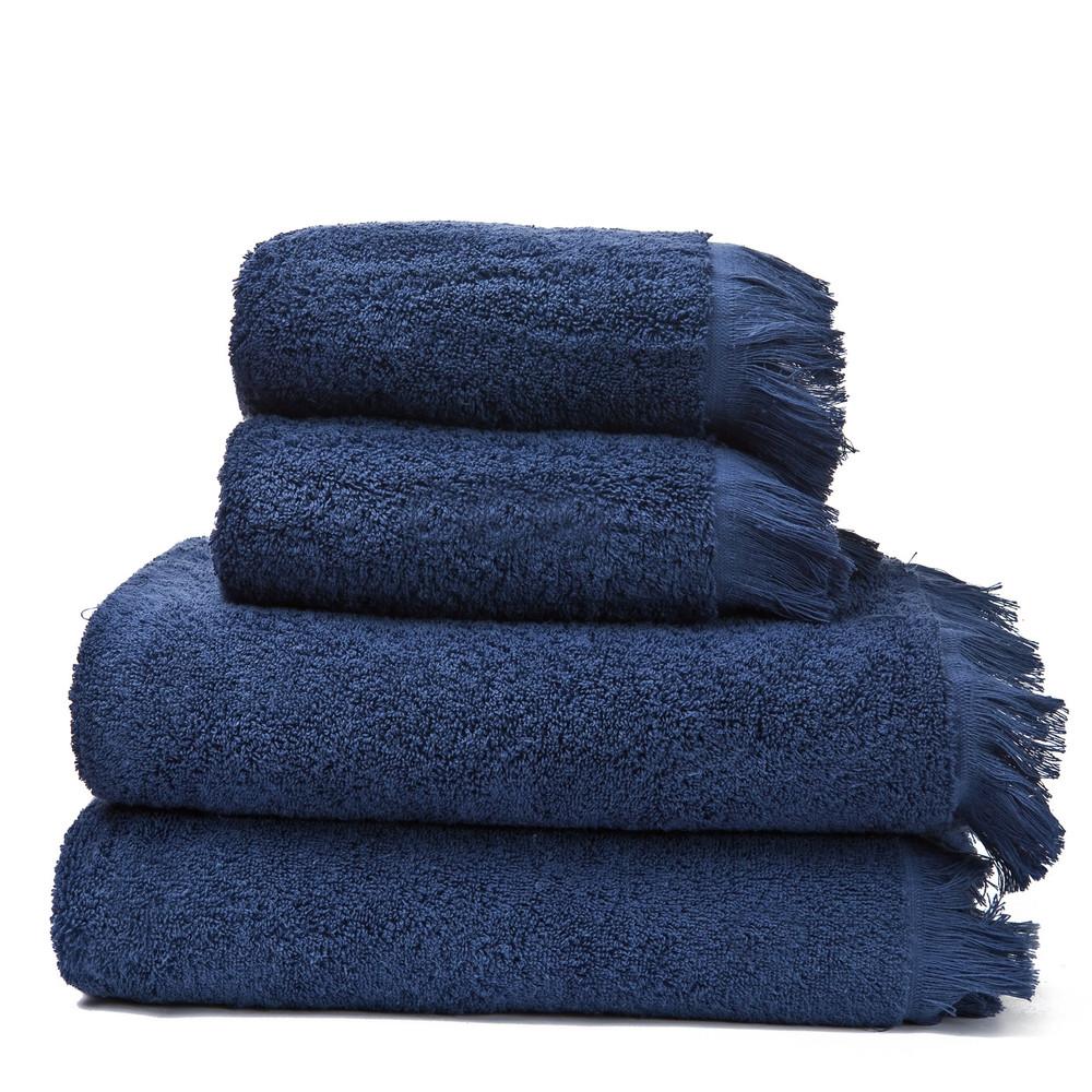 Set 2 modrých bavlnených uterákov a 2osušiek CasaDiBassi Bath